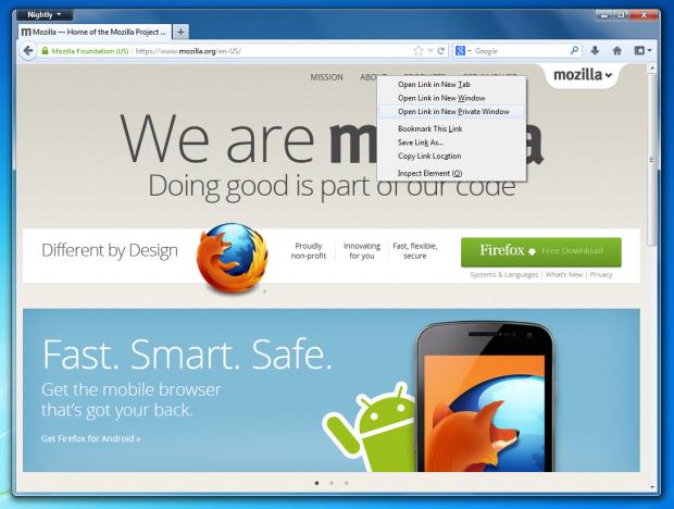 Firefox 20 verbessert das private Surfen.