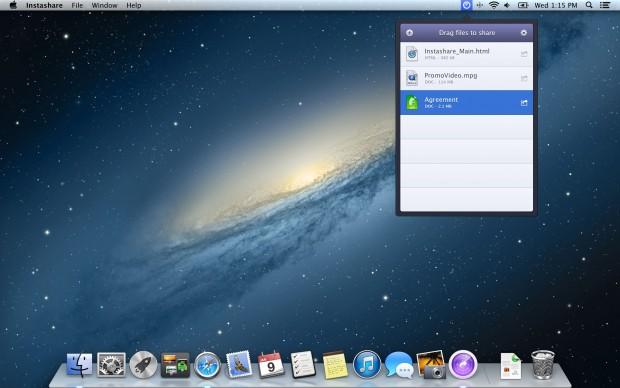 Datentransfer vom Mac zu iOS via Instashare (Bild: Instashare)