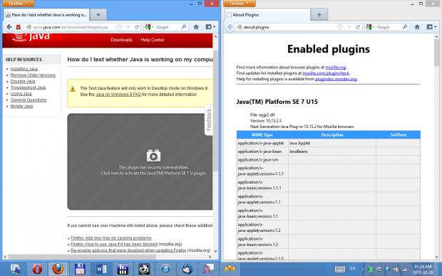 Trotz aktueller Java-Version wird das Browser-Plugin nicht mehr automatisch in Firefox ausgeführt. (Screenshot: Golem.de)