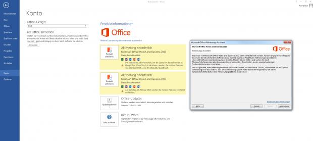 Nicht nur Office 2013 verweigert nach der ersten Aktivierung eine Zweitaktivierung.