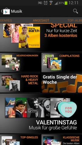 Ab sofort können Nutzer über Googles Musikdienst Play Music jede Woche ein Gratislied herunterladen. (Screenshot: Golem.de)