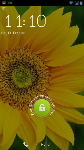 Den Sperrbildschirm hat ZTE durch ein eigenes Design ersetzt. Zum Entsperren muss ein Kreis gedrückt und nicht weggewischt werden. (Screenshot: Golem.de)
