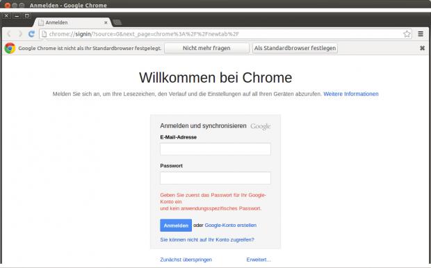 Für den Zugang zu Google können auch anwendungsspezifische Passwörter per URL übergeben werden.