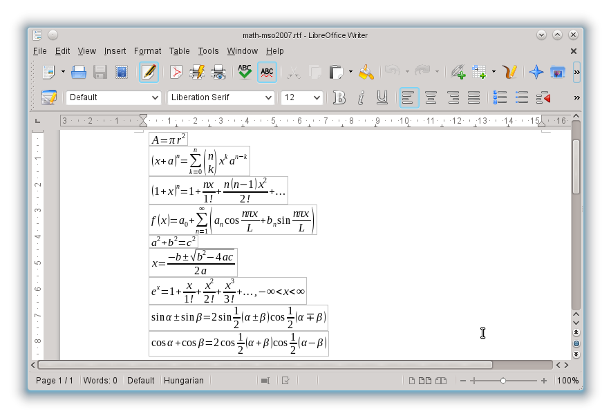 Freie Büroanwendung: Libreoffice 4.0 freigegeben - Formeln in RTF-Dateien lassen sich ebenfalls im- und exportieren. (Bild: Libreoffice)