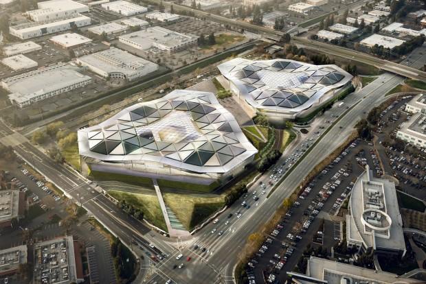 Nvidias geplantes Hauptquartier - hier mit zwei Dreiecksgebäuden (Bild: Nvidia/Gensler)