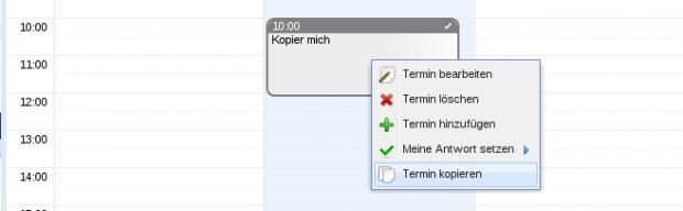 Im Kalender können Termine über das Kontextmenü kopiert werden.