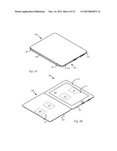 Apples US-Patentantrag 20130063873 zur Induktionsladefunktion eines iPad (Bild: US-Patent- und Markenamt)