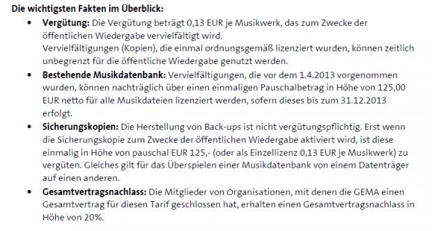 Auszug aus der Mitteilung der Gema (Screenshot: Golem.de)