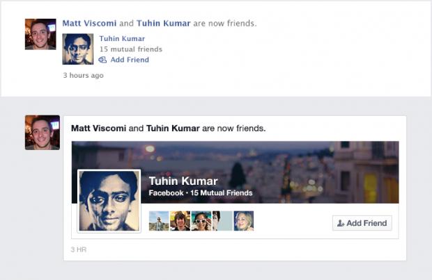Die alte und die neue Freundesanzeige (Screenshots: Facebook)