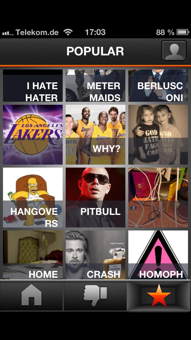 Fotosharing: Hater haten mit Hater - Die beliebtesten Hassobjekte werden von dem Dienst dargestellt. (Screenshot: Golem.de)