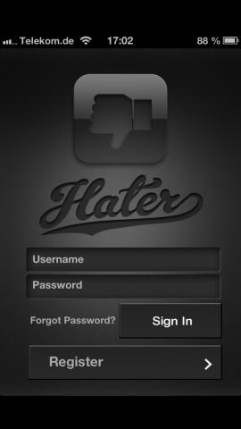 Der Startbildschirm von Hater.  (Screenshot: Golem.de)