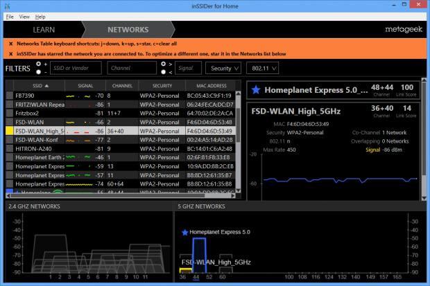 InSSIDer 3 bietet nun eine Doppelansicht für beide WLAN-Bänder. (Screenshot: Golem.de)