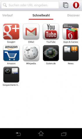 Opera Mobile Beta für Android mit Webkit-Engine - Schnellwahlseite (Screenshot: Golem.de)