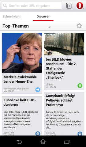 Opera Mobile Beta für Android mit Webkit-Engine - Discover-Bereich (Screenshot: Golem.de)