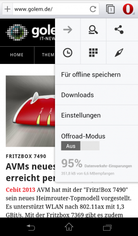 Opera Mobile Beta für Android mit Webkit-Engine - Einstellungsmenü (Screenshot: Golem.de)