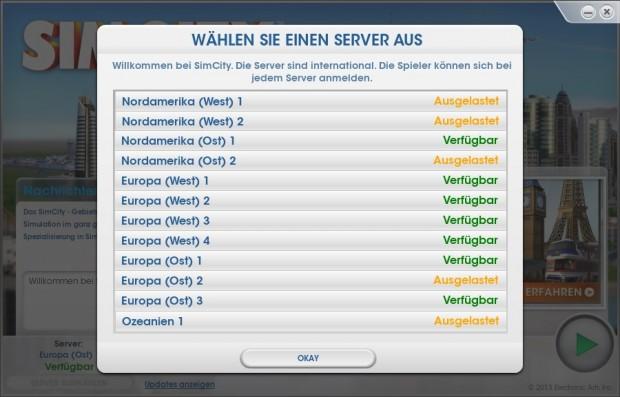 Die aktuelle Liste mit den Servern von Sim City