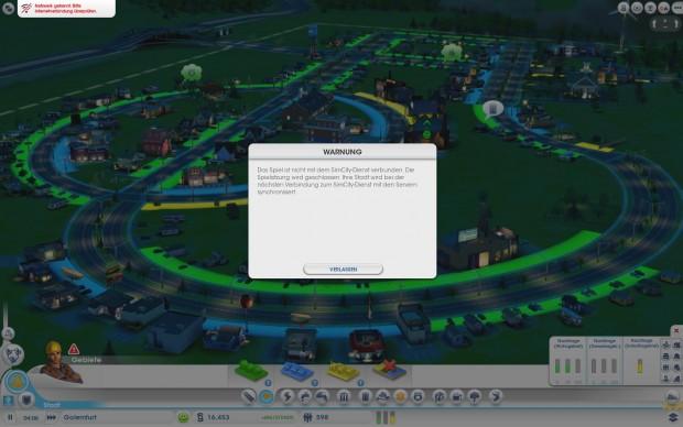 Solopartie ohne Nutzung des Internet, wie das Symbol oben links zeigt: Erst nach rund 20 Minuten stoppt Sim City den Betrieb,...