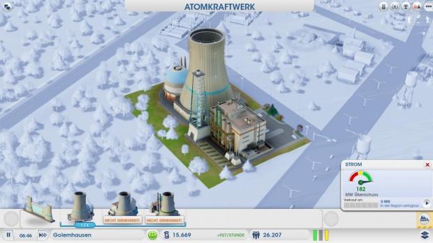 So ein Atomkraftwerk muss der Spieler wegen der kleinen Karten auch mal mitten im Wohngebiet unterbringen...