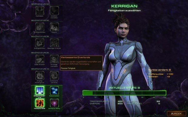 Im Verlauf der Kampagne wandelt sich das Bild von Kerrigan, und sie sieht immer böser aus.