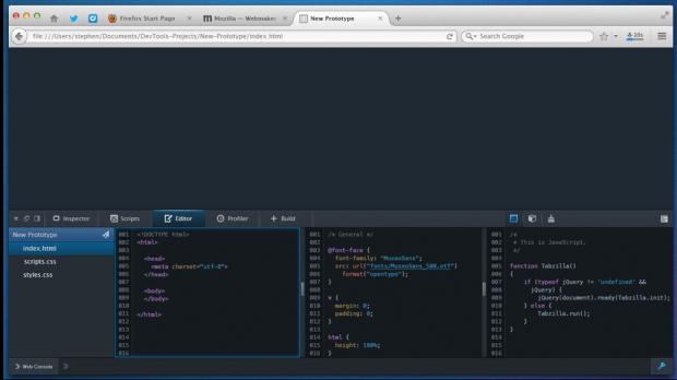 Mockup: Editor direkt in Firefox integriert