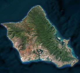 Bing Maps - eine Topographie-Schattierung zeigt ab sofort die Tiefe des Ozeans um die Insel Oahu, Hawaii. (Bild: Microsoft)