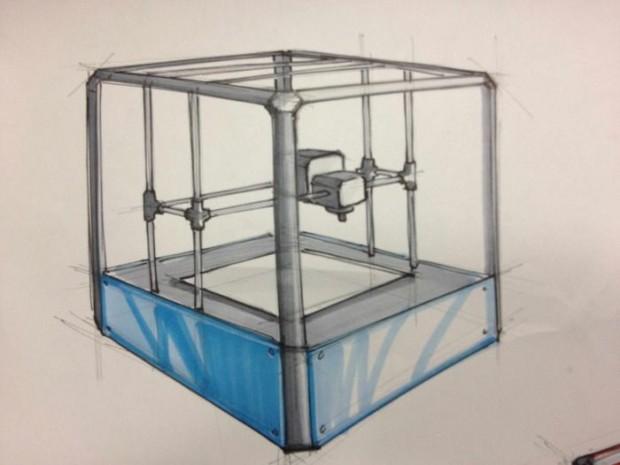 Konstruktionszeichnung des Rigidbot: Der 3D-Drucker hat einen stabilen Rahmen aus Stahl - daher der Name. (Bild: Invent-A-Part)