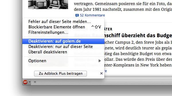 Adblock Plus unter Firefox deaktivieren
