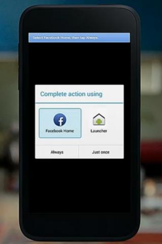 Der Nutzer hat die Wahl, Facebook Home als Standard-Launcher auszuwählen.