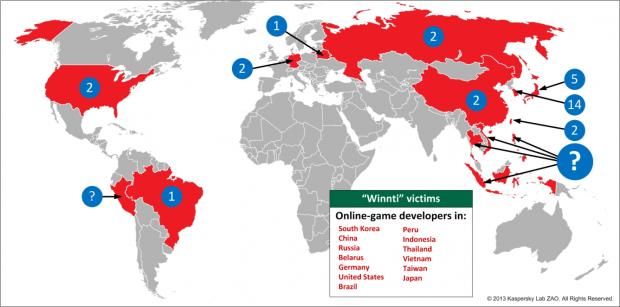 Winnti-Gruppe hat weltweit Onlinespielefirmen angegriffen (Quelle: Kaspersky Lab)