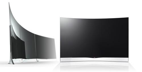 Drei der OLED-TVs links, rechts ein einzelner. (Bilder: LG)