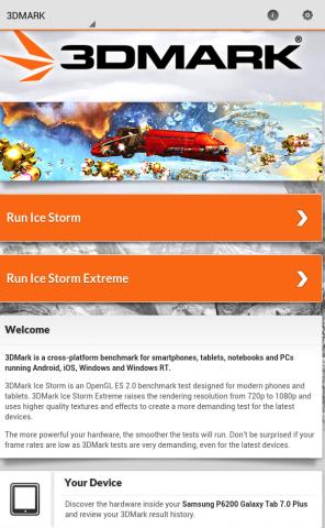 Startbildschirm von 3DMark