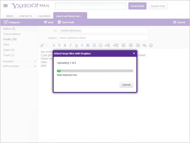 Yahoo integriert Dropbox in Yahoo Mail. (Bild: Yahoo)
