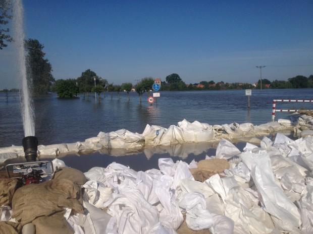 Das Hochwasser in Alt Lostau (Bild: Michel Vorsprach)