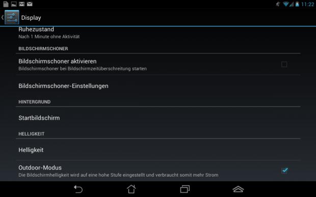 """Mit dem """"Outdoor Modus"""" lässt sich der standardmäßig dunkel eingestellte Bildschirm aufhellen. (Screenshot: Golem.de)"""