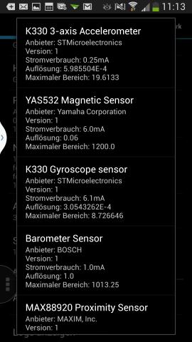 Sensoren im S4 (Screenshot: Golem.de)