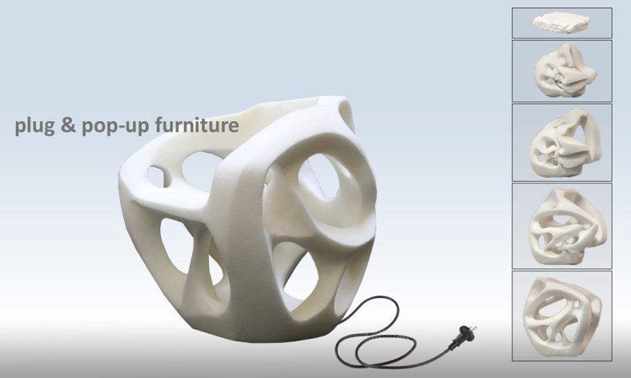 Design: Der Stuhl weiß, wie er aussieht - Wenn das Paket an die Steckdose angeschlossen wird, ... (Bild: Noumenon)