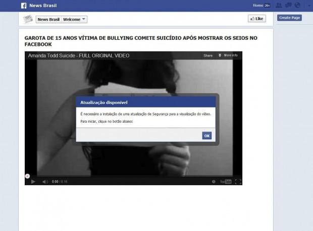 Wird nur die *.info-Domain der von Microsoft verbreiteten URL eingegeben, gelangt der Nutzer zu einer brasilianischen Facebook-Seite, auf der der Trojaner installiert werden kann.