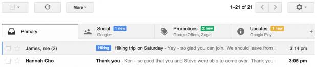 Neues Gmail mit Kategorisierung - Webversion (Bild: Google)