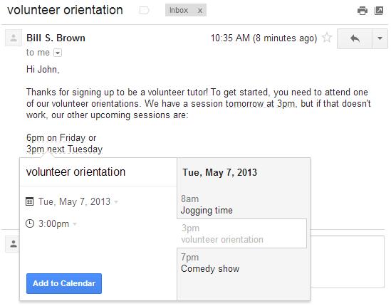 Nutzer von Gmail können künftig direkt aus einer E-Mail heraus einen Kalendereintrag erstellen. (Bild: Google)