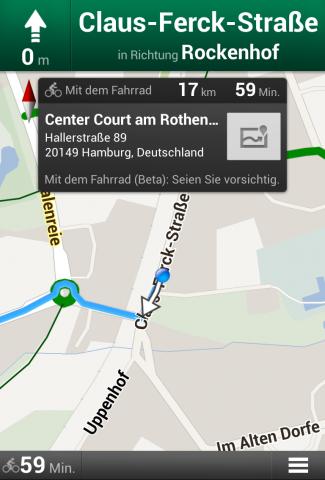 Google Maps für Android mit Fahrradnavigation (Bild: Google)