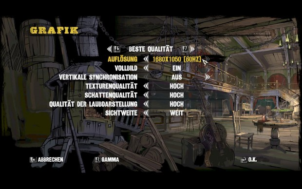Das Grafikmenü der PC-Fassung
