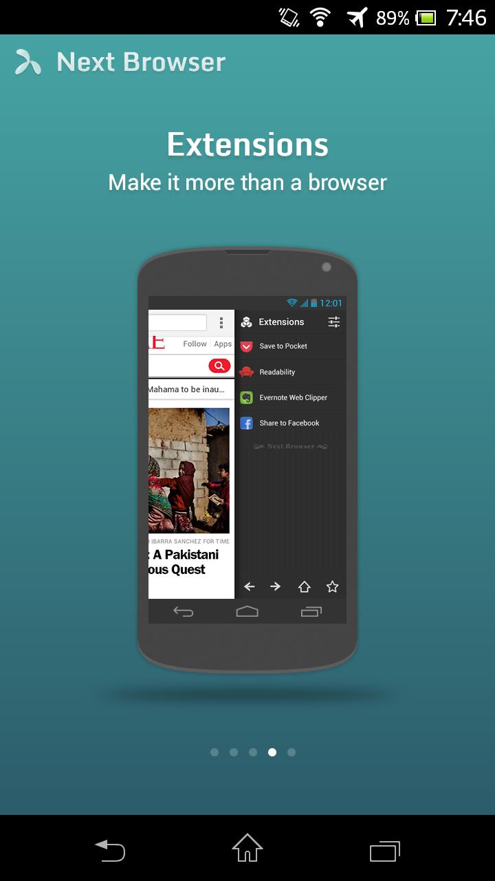 Next Browser angeschaut: Android-Browser mit Gestensteuerung - Next Browser (Bild: Golem.de)