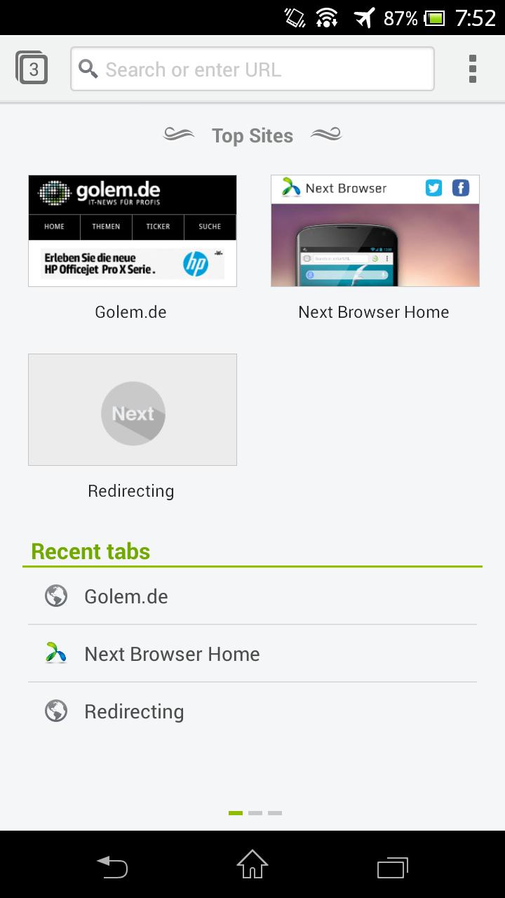 Next Browser angeschaut: Android-Browser mit Gestensteuerung - Next Browser - Seite mit Browserverlauf und Top Sites (Bild: Golem.de)