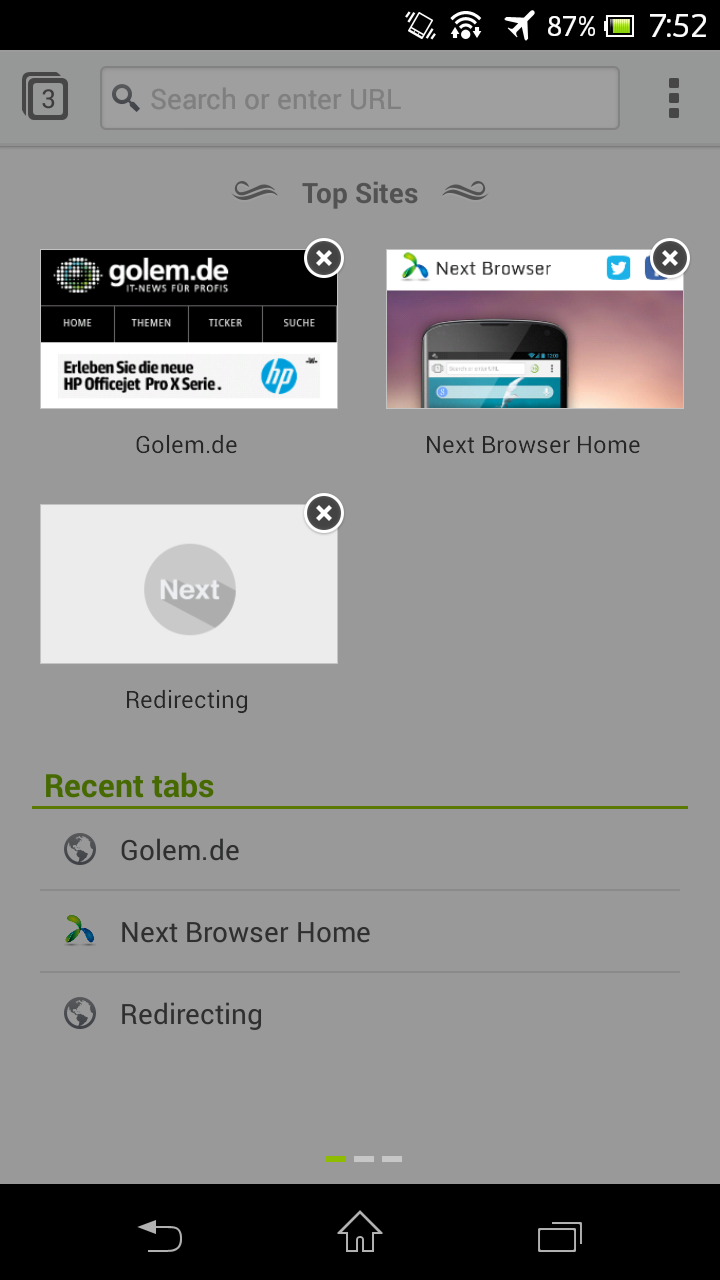 Next Browser angeschaut: Android-Browser mit Gestensteuerung - Next Browser - Top Sites lassen sich bearbeiten. (Bild: Golem.de)
