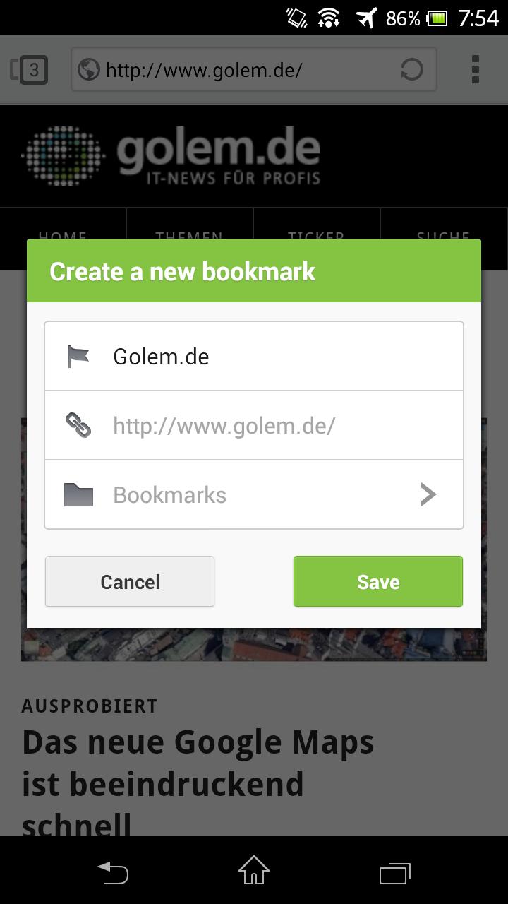 Next Browser angeschaut: Android-Browser mit Gestensteuerung - Next Browser - neues Lesezeichen anlegen (Bild: Golem.de)