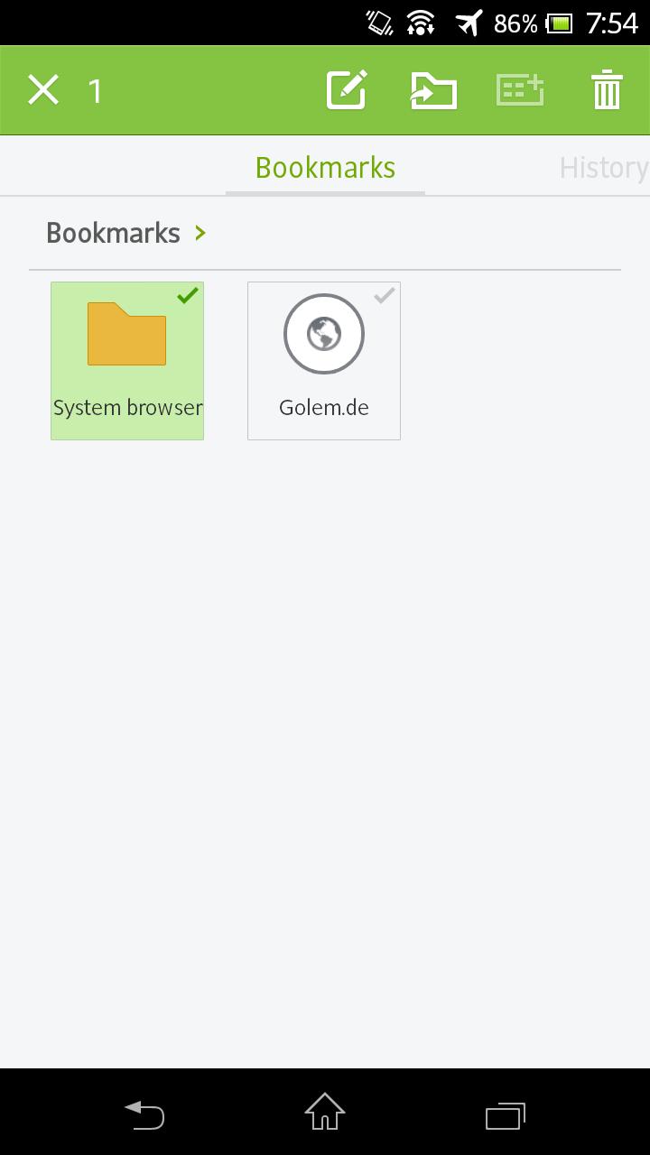 Next Browser angeschaut: Android-Browser mit Gestensteuerung - Next Browser - Lesezeichen bearbeiten (Bild: Golem.de)