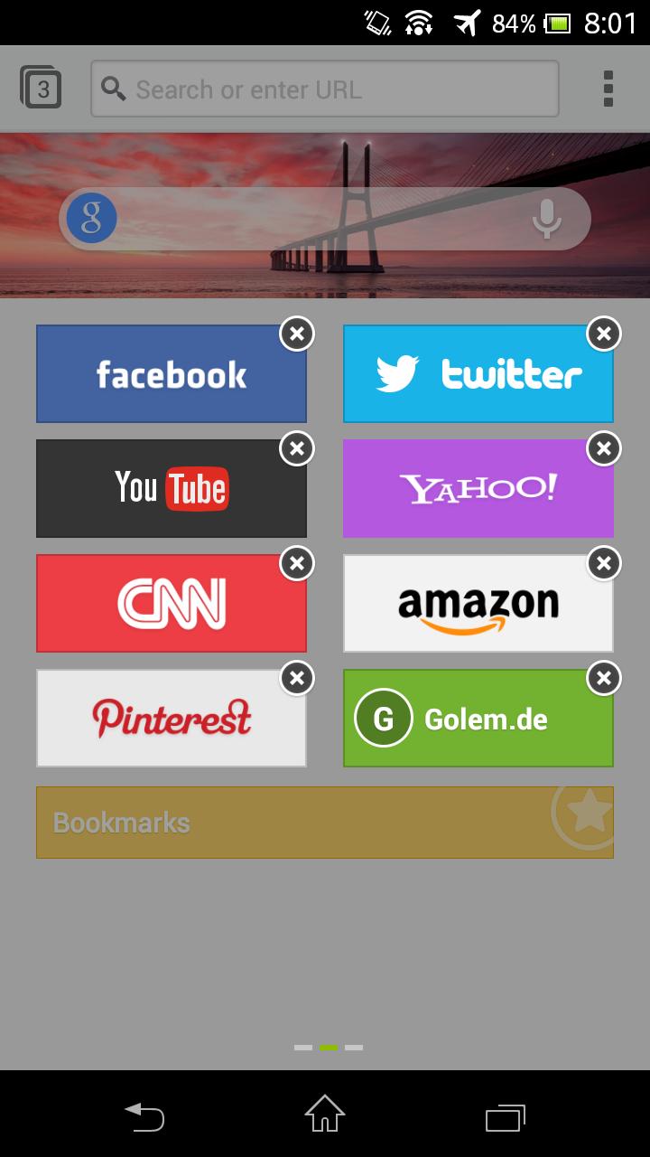 Next Browser angeschaut: Android-Browser mit Gestensteuerung - Next Browser - Schnellwahlseite kann editiert werden. (Bild: Golem.de)
