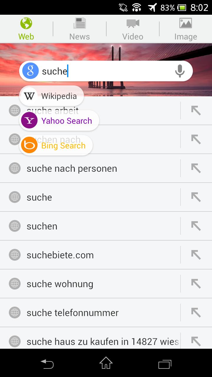 Next Browser angeschaut: Android-Browser mit Gestensteuerung - Next Browser - Suchfeld auf der Schnellwahlseite (Bild: Golem.de)