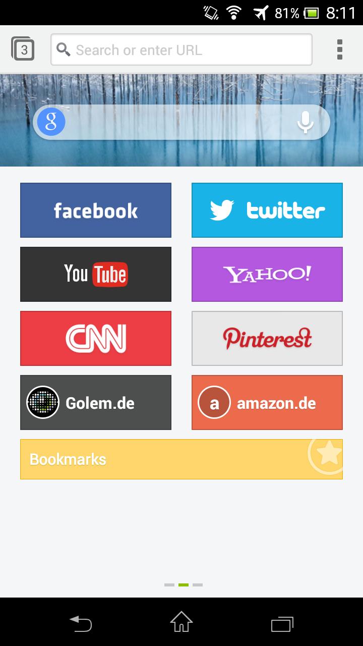 Next Browser angeschaut: Android-Browser mit Gestensteuerung - Next Browser - Schnellwahlseite (Bild: Golem.de)