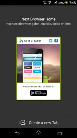 Next Browser - Tab-Übersicht (Bild: Golem.de)